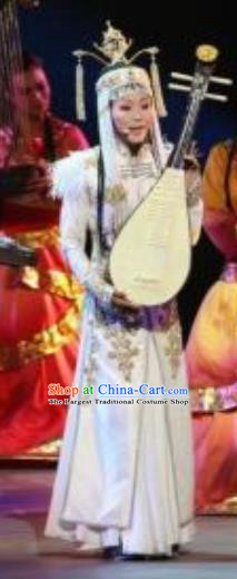 Chinese Zhaojun Chu Sai Mongol Nationality Dance White Dress Stage Performance Costume and Headpiece for Women