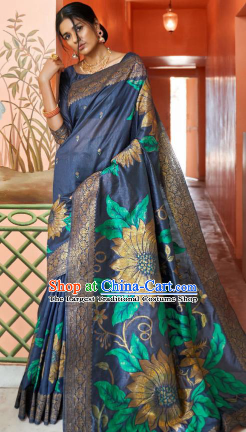 Asian Indian Bollywood Printing Sunflowers Navy Silk Dress India Traditional Sari Costumes for Women