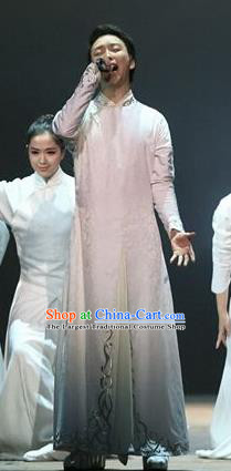 Chinese Zhaojun Chu Sai Classical Dance White Clothing Stage Performance Dance Costume for Men