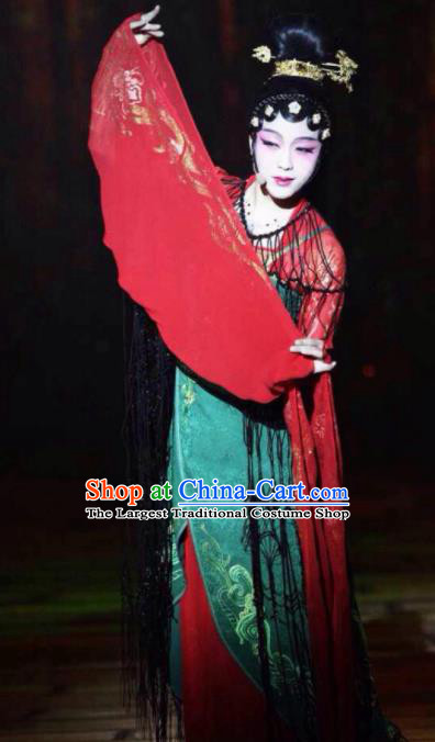 Chinese Zhaojun Chu Sai Ancient Court Lady Red Dress Stage Performance Dance Costume and Headpiece for Women