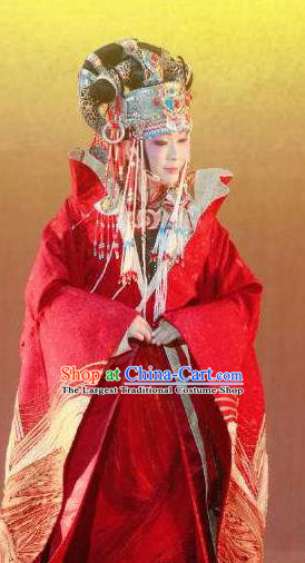 Chinese Zhaojun Chu Sai Ancient Court Queen Red Dress Stage Performance Dance Costume and Headpiece for Women
