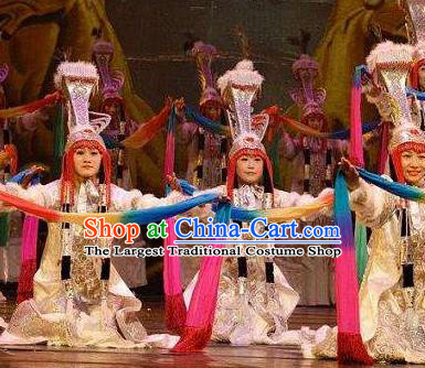 Chinese Zhaojun Chu Sai Ancient Mongol Nationality Princess White Dress Stage Performance Dance Costume and Headpiece for Women