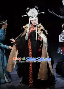 Chinese Zhaojun Chu Sai Ancient Mongol Nationality Queen Black Dress Stage Performance Dance Costume and Headpiece for Women