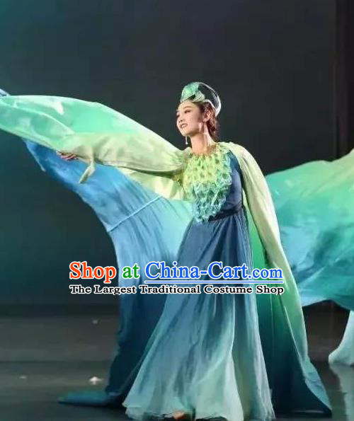 Chinese Zhaojun Chu Sai Classical Dance Blue Dress Stage Performance Dance Costume and Headpiece for Women