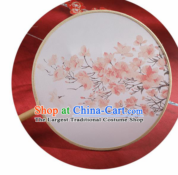 Chinese Traditional Printing Peach Flowers Round Fans Hanfu Silk Palace Fan for Women