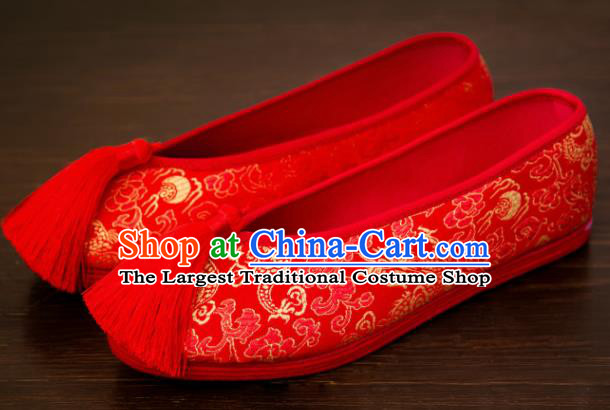Traditional Chinese Handmade Wedding Shoes Hanfu Red Shoes Bride Shoes for Women