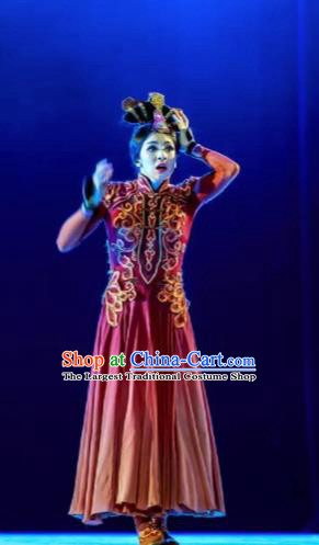 Chinese Lady Zhaojun Mongol Nationality Dance Red Dress Stage Performance Dance Costume and Headpiece for Women