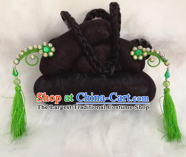 Chinese Traditional Beijing Opera Hair Accessories Peking Opera Green Tassel Hairpins for Adults