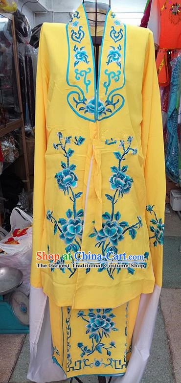 Chinese Traditional Beijing Opera Tsingyi Costume Peking Opera Actress Embroidered Peony Yellow Dress for Adults