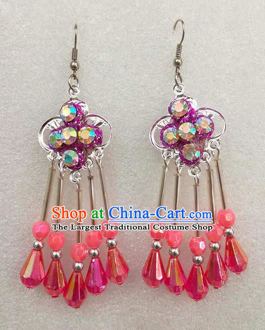 Chinese Traditional Beijing Opera Earrings Peking Opera Actress Rosy Eardrop for Adults