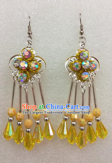 Chinese Traditional Beijing Opera Earrings Peking Opera Actress Yellow Eardrop for Adults