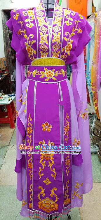 Chinese Traditional Beijing Opera Nobility Lady Purple Dress Peking Opera Actress Costume for Adults