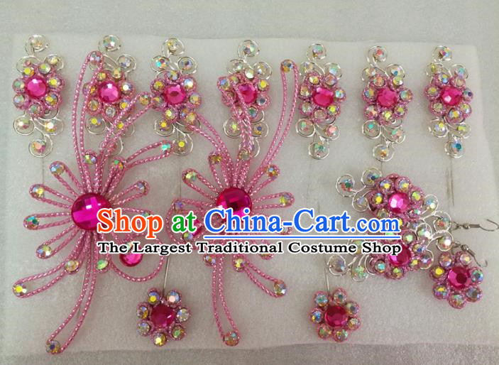 Chinese Traditional Beijing Opera Actress Pink Crystal Hairpins Hair Accessories for Adults