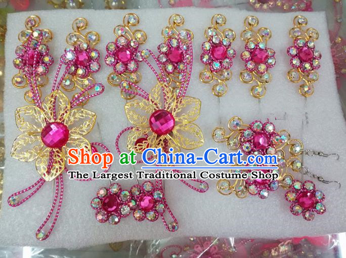 Chinese Traditional Beijing Opera Actress Crystal Rosy Hairpins Hair Accessories for Adults