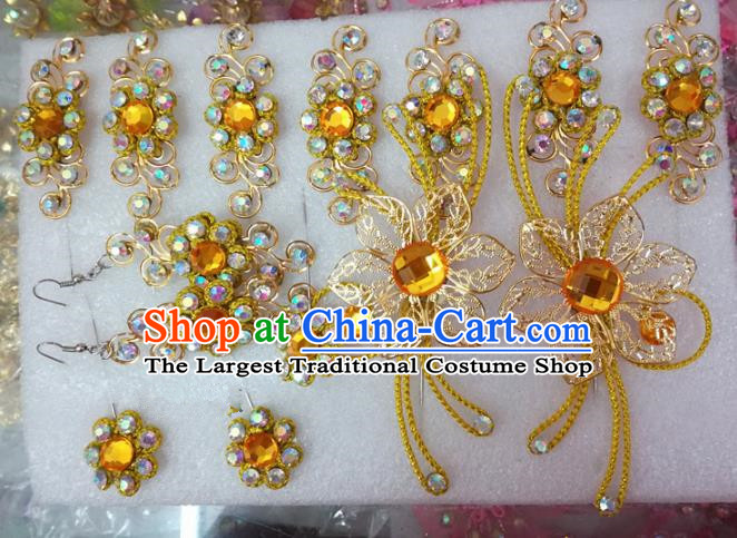 Chinese Traditional Beijing Opera Actress Crystal Hairpins Head Ornaments Hair Accessories for Adults