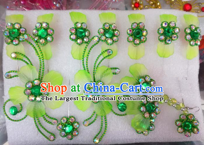 Chinese Traditional Beijing Opera Hair Accessories Peking Opera Princess Green Flowers Hairpins Complete Set for Adults