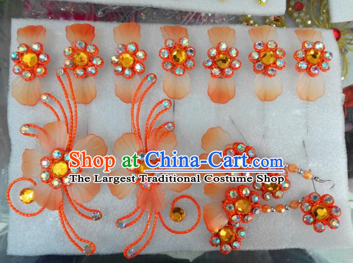 Chinese Traditional Beijing Opera Hair Accessories Peking Opera Princess Orange Flowers Hairpins Complete Set for Adults
