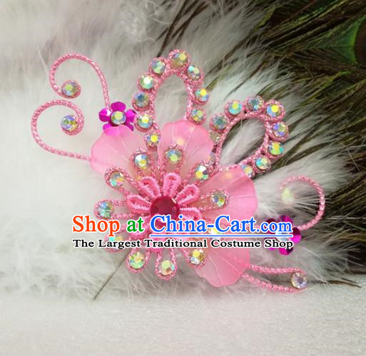Chinese Traditional Beijing Opera Actress Hair Accessories Peking Opera Princess Pink Flowers Hairpins for Adults