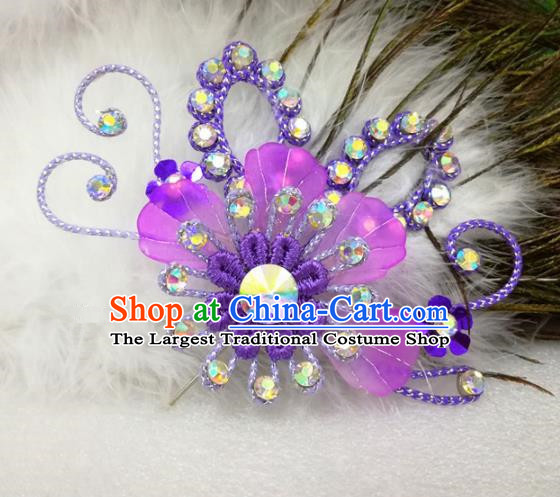 Chinese Traditional Beijing Opera Actress Hair Accessories Peking Opera Princess Purple Flowers Hairpins for Adults
