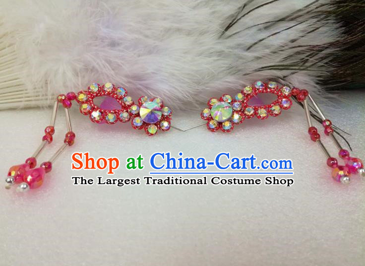 Chinese Traditional Beijing Opera Actress Hair Accessories Ancient Princess Red Hairpins for Adults