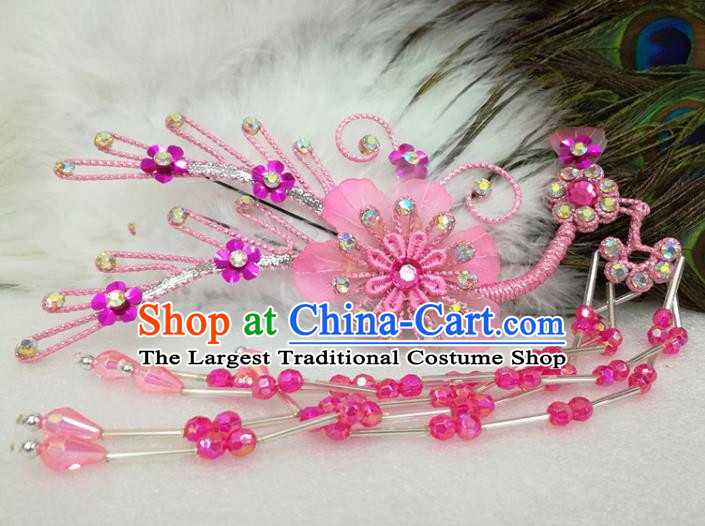 Chinese Traditional Beijing Opera Actress Pink Flower Hairpins Hair Accessories for Adults