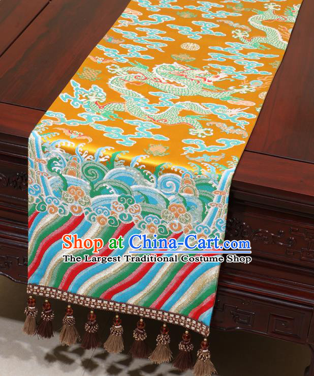 Chinese Traditional Dragon Pattern Golden Brocade Table Flag Classical Satin Household Ornament Table Cover