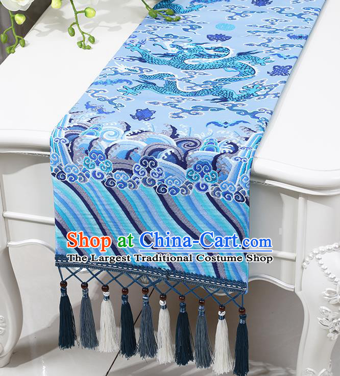 Chinese Traditional Dragon Pattern Blue Brocade Table Flag Classical Satin Household Ornament Table Cover