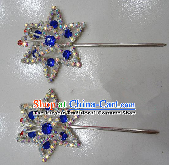 Chinese Traditional Beijing Opera Diva Royalblue Crystal Hexagon Hairpins Princess Hair Clip Hair Accessories for Adults