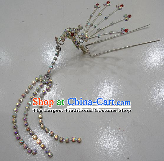 Chinese Traditional Beijing Opera Diva Crystal Phoenix Hairpins Princess Tassel Hair Clip Hair Accessories for Adults