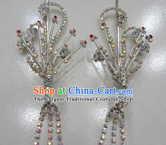 Chinese Traditional Beijing Opera Diva Phoenix Hairpins Princess Crystal Tassel Hair Clip Hair Accessories for Adults