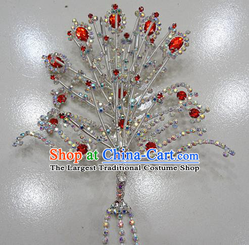 Chinese Traditional Beijing Opera Queen Phoenix Hairpins Princess Red Crystal Tassel Hair Clip for Adults