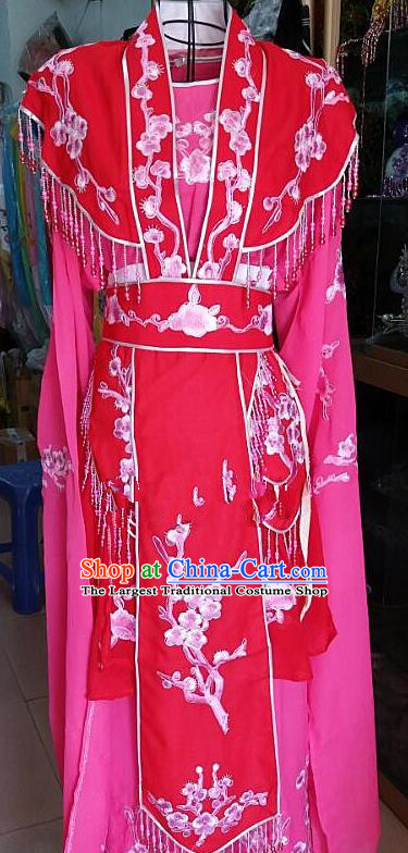 Chinese Traditional Beijing Opera Actress Princess Rosy Dress Peking Opera Peri Costume for Adults