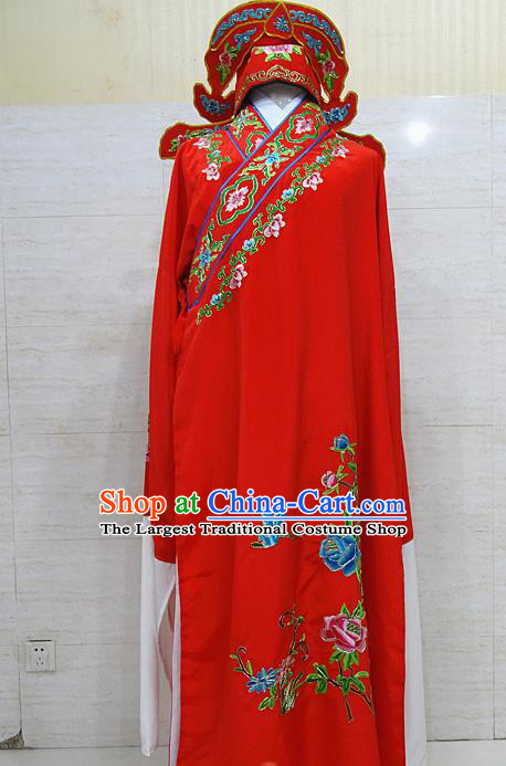 Professional Chinese Beijing Opera Niche Embroidered Peony Red Robe Traditional Peking Opera Scholar Costume for Adults