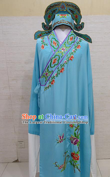 Professional Chinese Beijing Opera Niche Embroidered Peony Blue Robe Traditional Peking Opera Scholar Costume for Adults