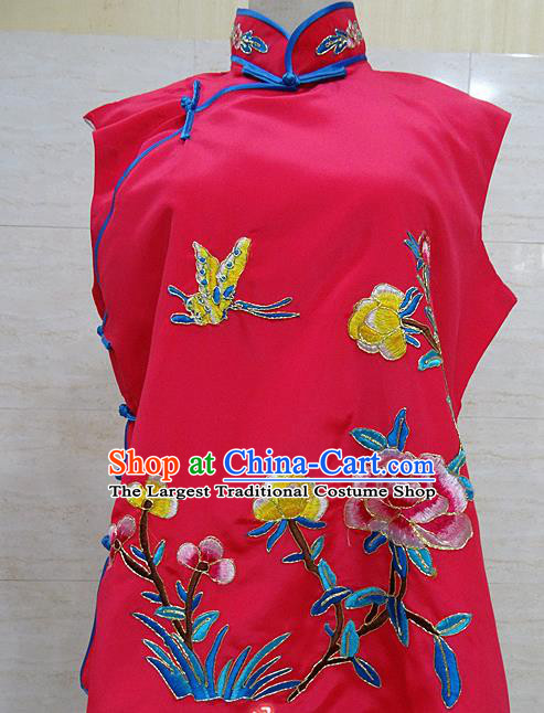 Chinese Traditional Beijing Opera Embroidered Peony Rosy Waistcoat Peking Opera Maidservants Costume for Adults
