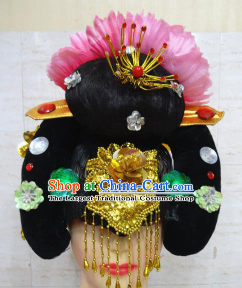 Chinese Traditional Beijing Opera Actress Hair Accessories Ancient Imperial Concubine Hairpins and Wigs for Adults