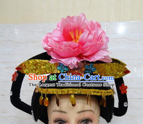 Chinese Traditional Beijing Opera Actress Hair Accessories Ancient Queen Pink Peony Hairpins and Wigs for Adults