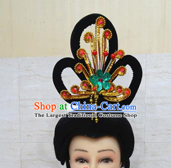 Chinese Traditional Beijing Opera Actress Hair Accessories Ancient Peri Golden Phoenix Hairpins and Wigs for Adults