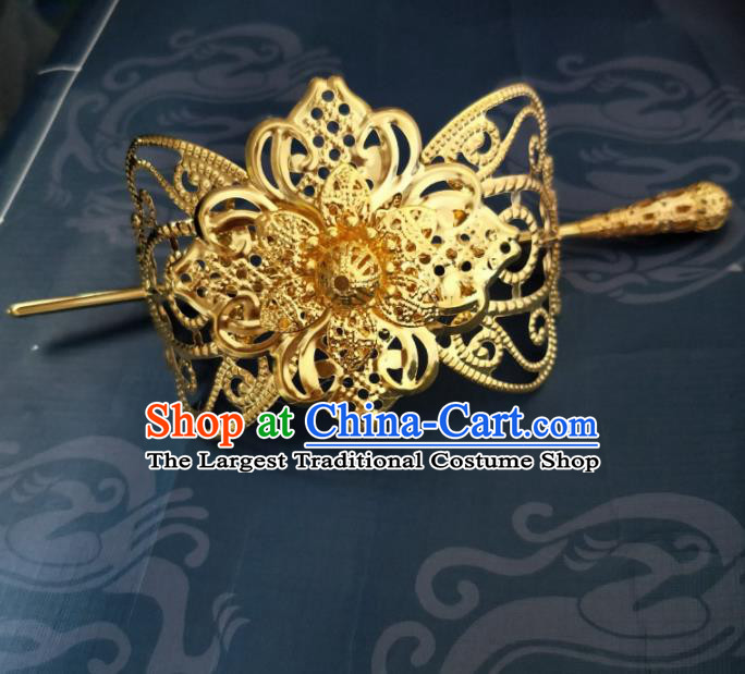 Chinese Traditional Prince Hair Accessories Hairpins Ancient Swordsman Golden Hairdo Crown for Men