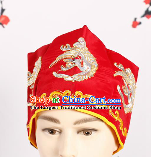 Chinese Traditional Beijing Opera Old Men Headwear Peking Opera Landlord Embroidered Crane Red Hat
