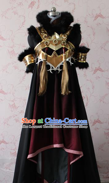 Chinese Traditional Cosplay Swordswoman Costume Ancient Female Heroine Black Dress for Women