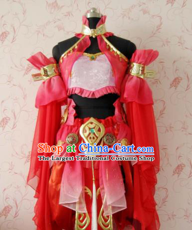 Chinese Ancient Female Swordsman Costume Traditional Cosplay Heroine Peri Red Dress for Women