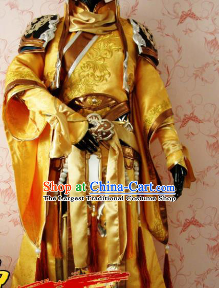 Chinese Ancient General Swordsman Golden Costume Traditional Cosplay Nobility Childe Clothing for Men
