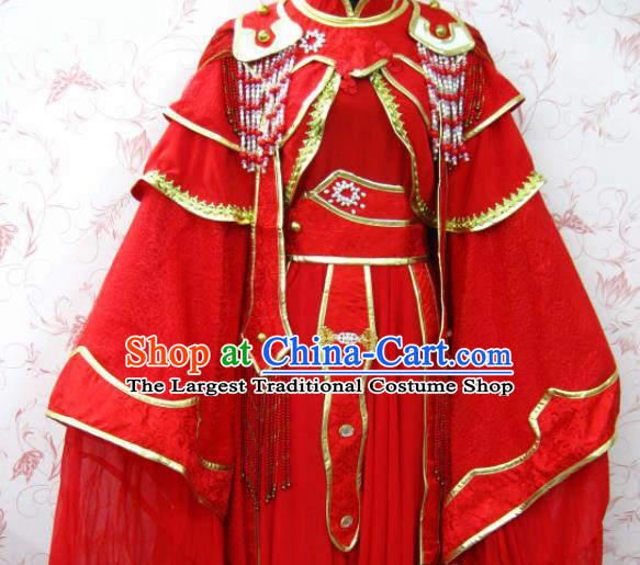 Chinese Ancient Female Swordsman Wedding Red Costume Traditional Cosplay Heroine Peri Dress for Women