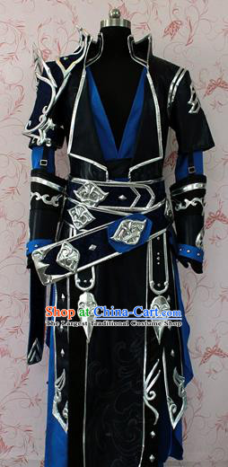 Chinese Ancient Swordsman Black Costume Traditional Cosplay Knight Clothing for Men