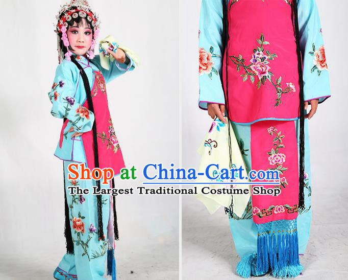 0cff235bc Traditional Chinese Beijing Opera Children Blue Costume Peking Opera  Maidservants Rosy Vest Clothing for Kids