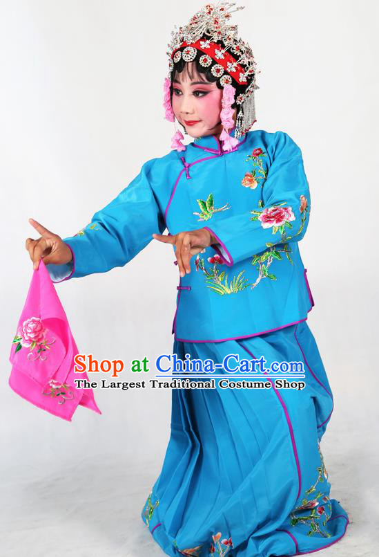 Traditional Chinese Beijing Opera Children Costume Peking Opera Maidservants Deep Blue Dress for Kids