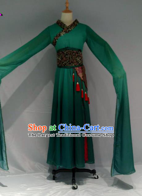 Traditional Chinese Classical Dance Costume Ancient Peri Green Water Sleeve Dress for Women