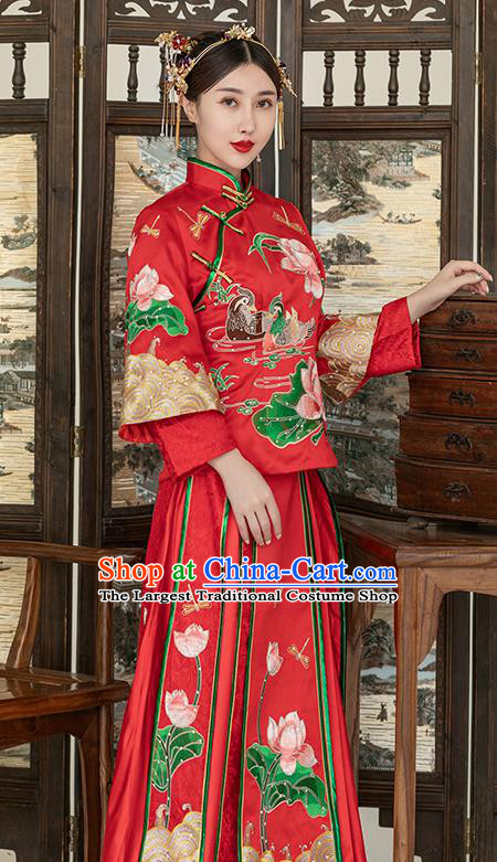 Traditional Chinese Ancient Wedding Costume Bride Embroidered Lotus Xiuhe Suits for Women