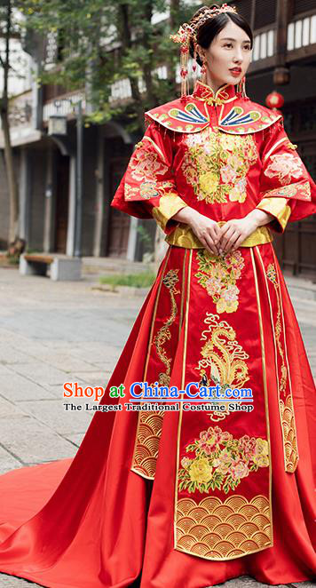Traditional Chinese Wedding Costume Ancient Bride Embroidered Red Trailing Xiuhe Suits for Women